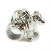 Great Dane Dog 3D Sterling Silver Dangle Charm / Carrier Bead